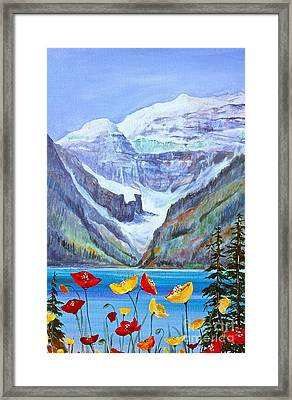 Lake Louise Poppies Framed Print by Virginia Ann Hemingson