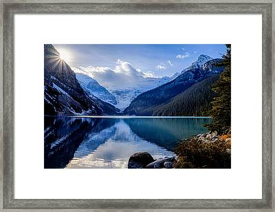 Lake Louise With Sunstar Framed Print