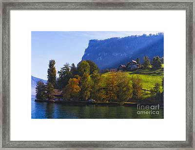Lake Lucerne Fall Morning Framed Print by George Oze
