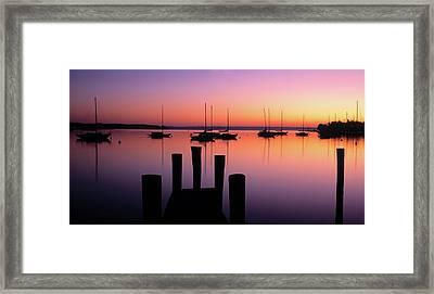 Lake Macatawa At Dawn, Holland, Ottawa Framed Print