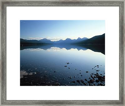 Lake Mcdonald And The Rocky Mountains Framed Print
