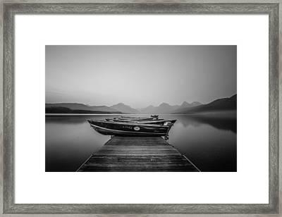 Black And White // Lake Mcdonald, Glacier National Park Framed Print