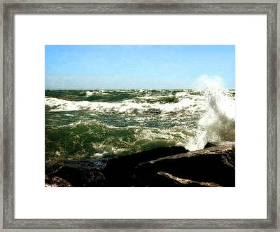 Lake Michigan In An Angry Mood Framed Print