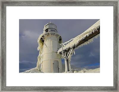 Lake Michigan Lighthouse Frozen In Winter Framed Print
