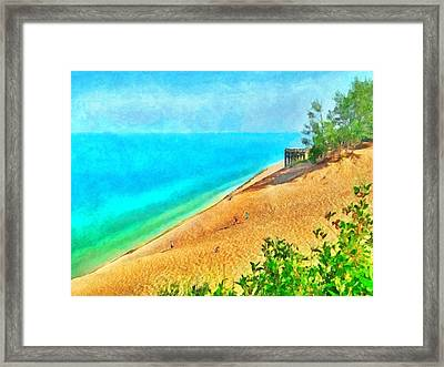 Lake Michigan Overlook On The Pierce Stocking Scenic Drive Framed Print