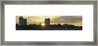 Lake Mirror Pano Framed Print by Laurie Perry