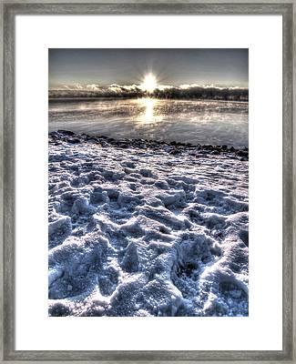 Lake Mjosa Sunset Framed Print by Chris Shirley