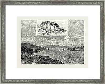 Lake Mjsen And The Ruins Of Hamar Cathedral Framed Print by Norwegian School