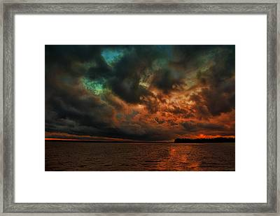 Lake Murray Fire Sky Framed Print by Steven Richardson