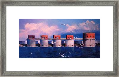 Lake Murray Towers Framed Print by Blue Sky