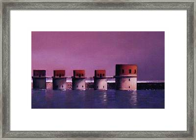 Lake Murray Towers In Evening Framed Print by Blue Sky