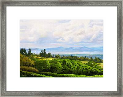 Framed Print featuring the painting Lake Naivasha From Home by Anthony Mwangi