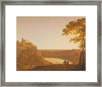 Lake Nemi At Sunset, C.1790 Oil On Canvas Framed Print