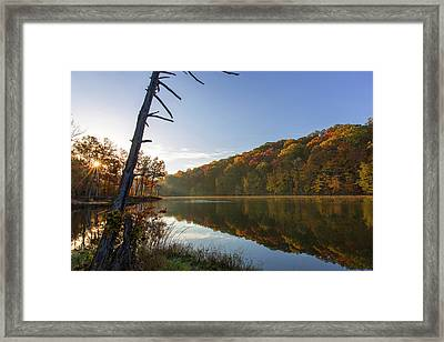 Lake Ogle In Autumn In Brown County Framed Print by Chuck Haney