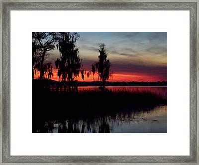 Lake On Fire Framed Print by Lew Davis