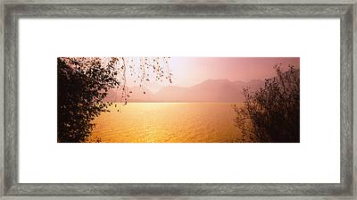 Lake On The Mountainside, Mondsee Framed Print by Panoramic Images