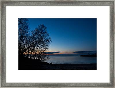 Framed Print featuring the photograph Lake Ontario Blue Hour by Georgia Mizuleva
