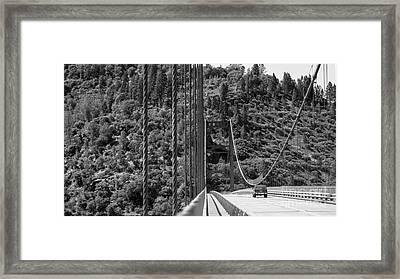 Lake Oroville Bridge Black And White Framed Print