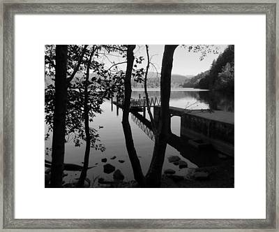 Lake Padden Reflection In Black And White Framed Print by Karen Molenaar Terrell