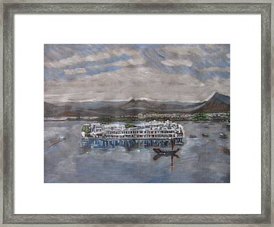 Framed Print featuring the painting Lake Palace by Vikram Singh