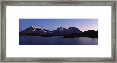 Lake Pehoe In Torres Del Paine National Framed Print