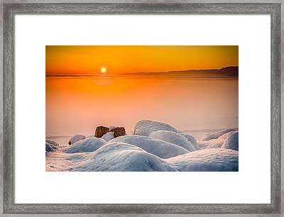 Lake Pepin Winter Sunrise Framed Print by Mark Goodman