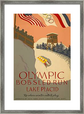 Framed Print featuring the painting Lake Placid  Bobsled Olyimics by American Classic Art