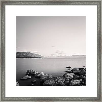 Lake Pukaki And Mount Cook New Zealand. Framed Print