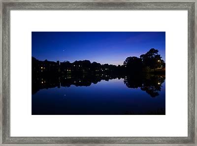 Lake Reflection At Dusk Framed Print by Chris Flees