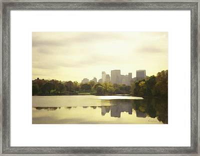 Lake Reflection Skyline 3 Framed Print