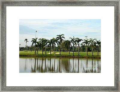 Lake Sand Traps Palm Trees And Golf Course Singapore Framed Print
