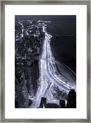 Lake Shore Drive Aerial  B And  W Framed Print by Steve Gadomski