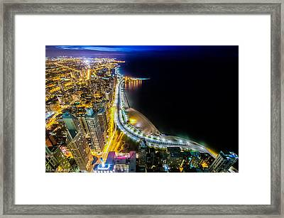 Lake Shore Drive Glow Framed Print by Raf Winterpacht
