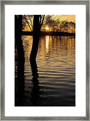 Lake Silhouettes Framed Print by Julie Andel
