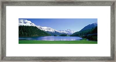 Lake Silverplaner St Moritz Switzerland Framed Print