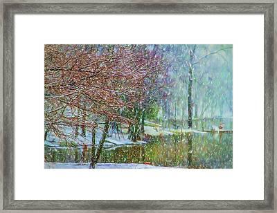 Lake Snowfall - Snowy Winter Landscape Framed Print by Barry Jones