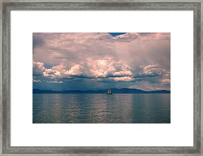Lake Sunrise Sailing Framed Print