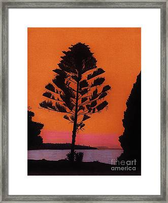 Framed Print featuring the drawing Lake Sunset by D Hackett