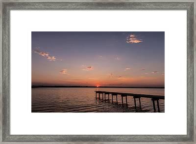 Lake Sunset Over Pier Framed Print