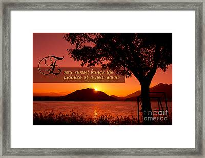 Lake Sunset With Promise Of A New Dawn Framed Print