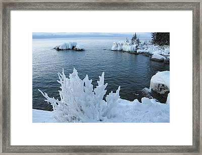 Lake Superior Blues Framed Print by Sandra Updyke