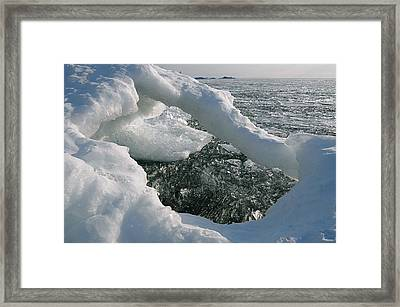 Framed Print featuring the photograph Lake Superior Ice Arch by Sandra Updyke