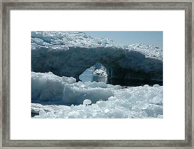 Framed Print featuring the photograph Lake Superior Ice Bridge by Sandra Updyke