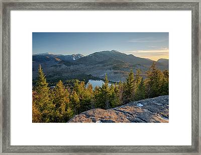Lake Surrounded By Mountains, Heart Framed Print