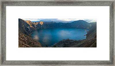 Lake Surrounded By Mountains, Quilotoa Framed Print