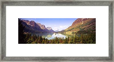 Lake Surrounded By Mountains, St. Mary Framed Print by Panoramic Images