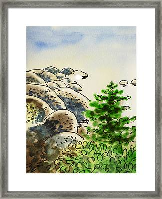 Lake Tahoe - California Sketchbook Project Framed Print by Irina Sztukowski