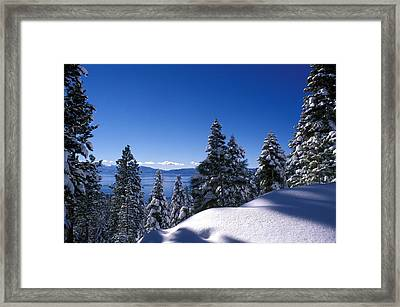Lake Tahoe In Winter Framed Print by Kathy Yates