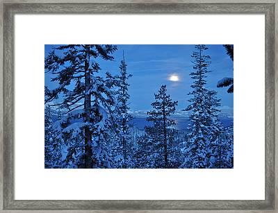 Lake Tahoe Moonset Framed Print by Bruce Friedman