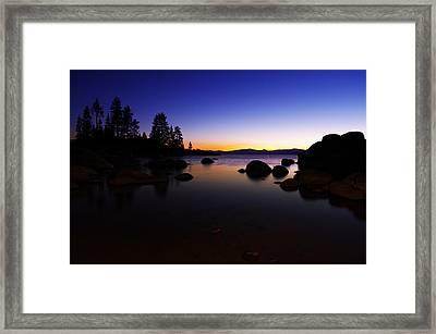Lake Tahoe Sand Harbor Sunset Silhouette Framed Print by Scott McGuire